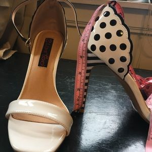 Shoes - Striped and polka dot strappy sandals with heel